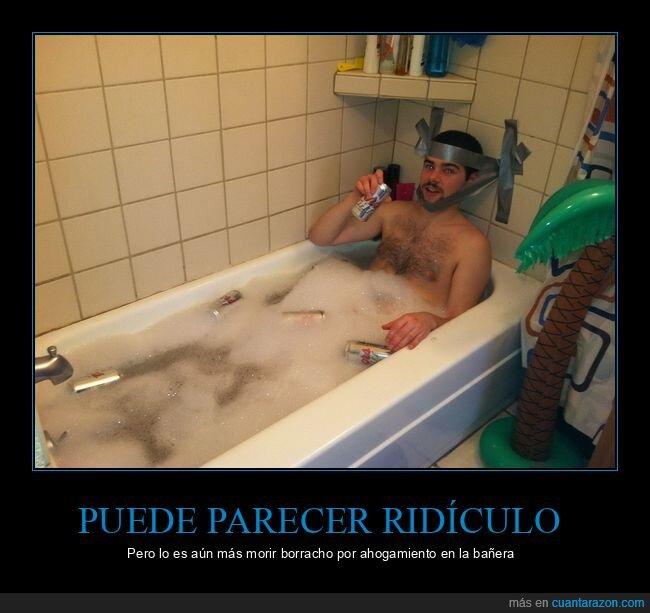 bañera,bebiendo,cerveza,cinta adhesiva,cinta americana,wtf