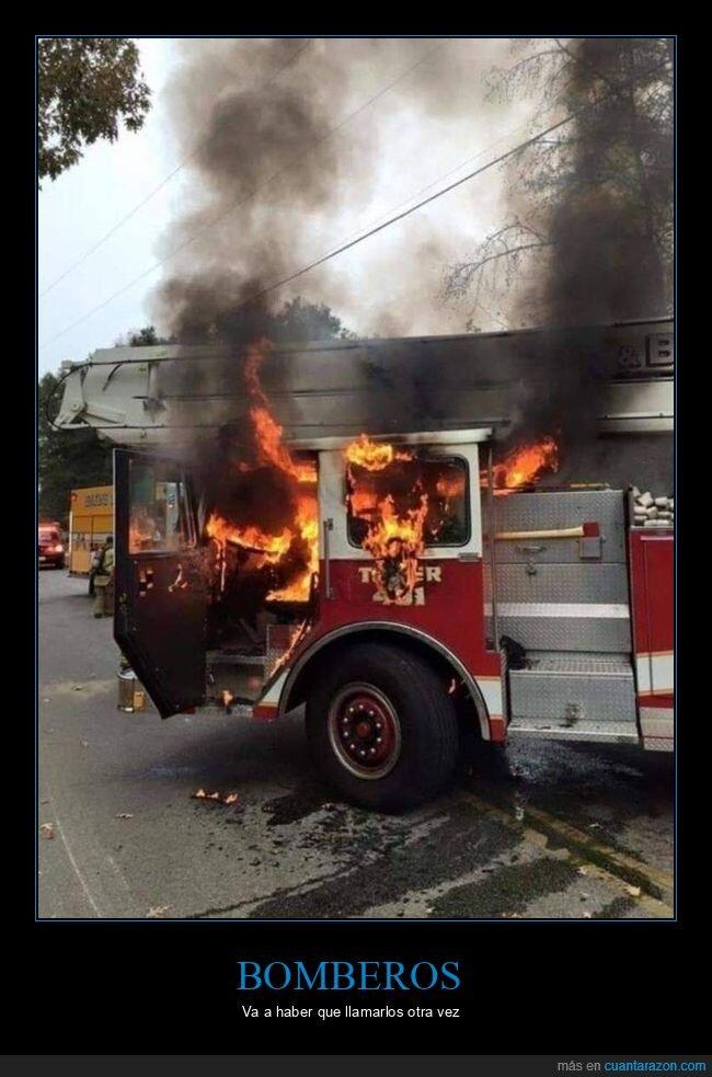 ardiendo,bomberos,camión,fails,fuego