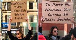 """Enlace a El """"hombre del cartel"""" tiene 5,7 millones de seguidores por decir verdades en público con sus carteles"""