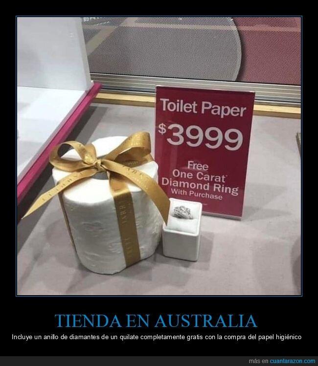 anillo,australia,diamantes,papel higiénico,regalo,tienda