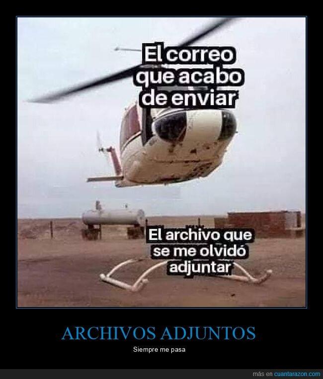 archivo adjunto,correo,helicóptero