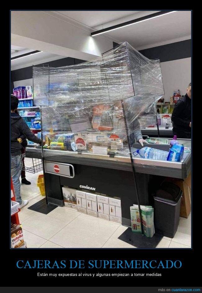 cajera,coronavirus,supermercado