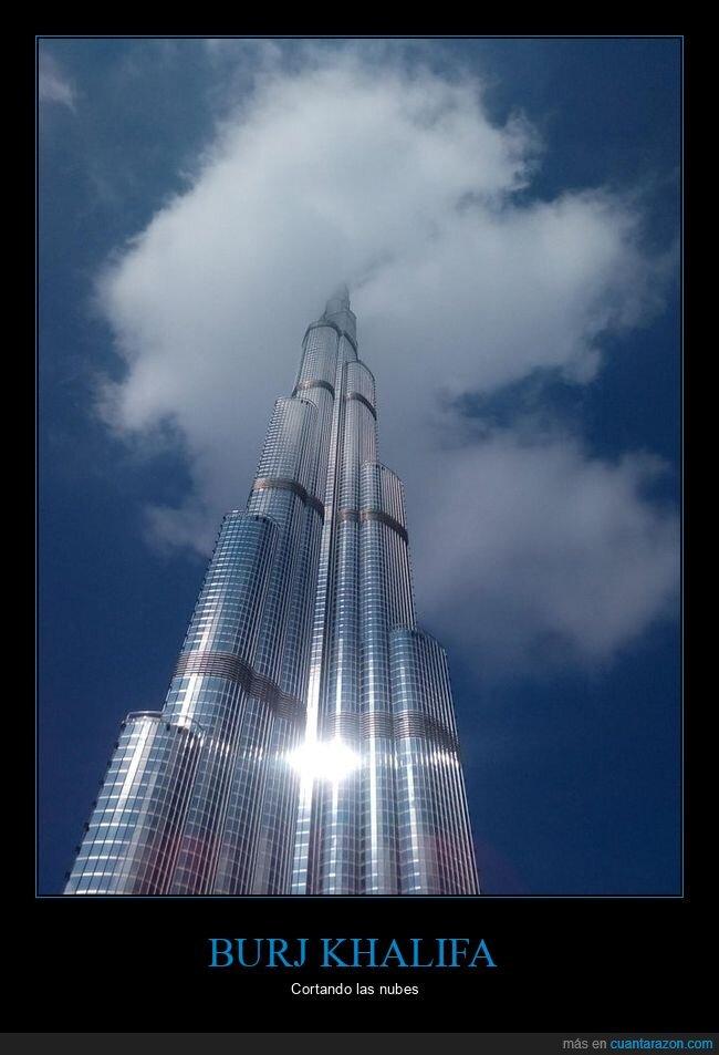 burj khalifa,cortando,nubes