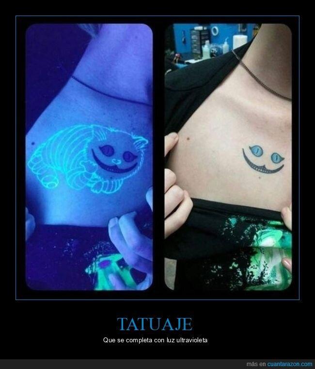 alicia en el país de las maravillas,gato,luz ultravioleta,tatuaje