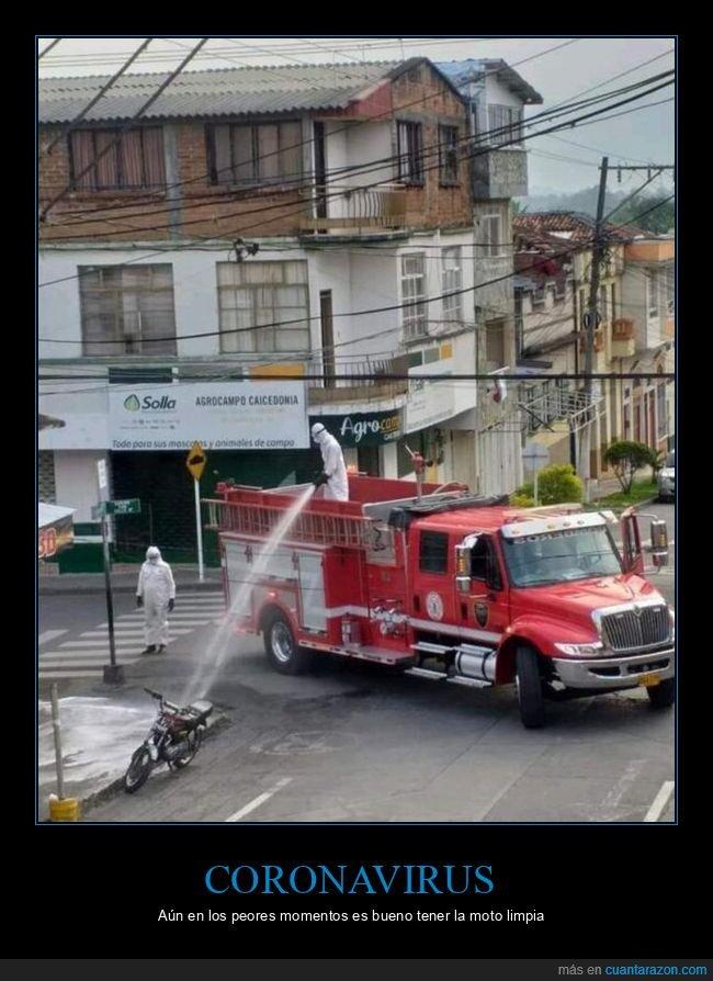 camión,coronavirus,desinfectar,lavando,moto