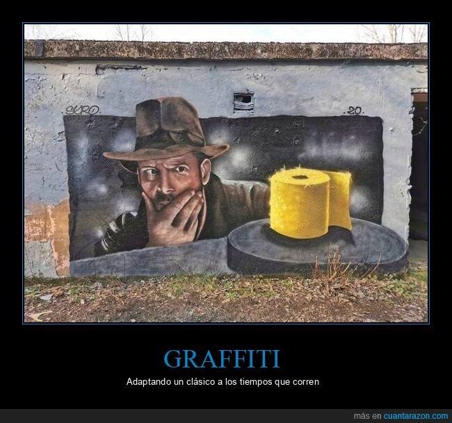arte urbano,coronavirus,graffiti,indiana jones,papel higiénico