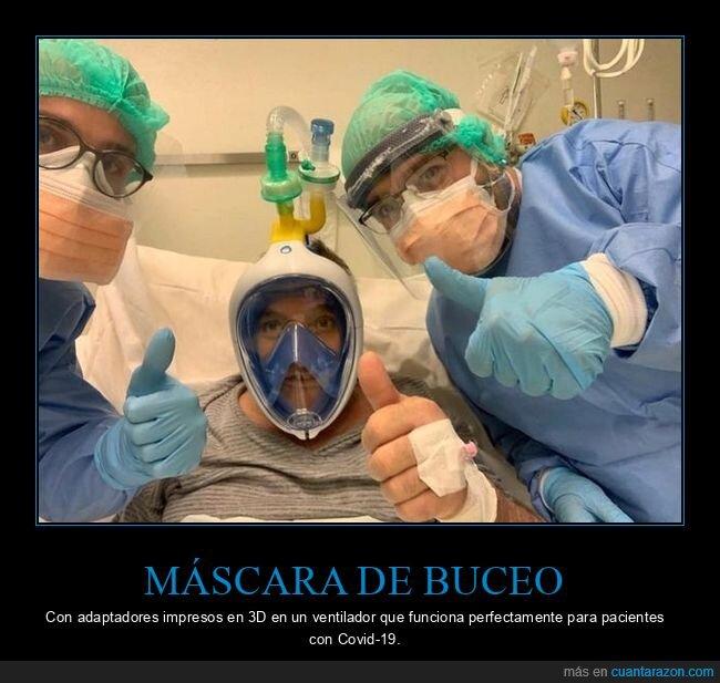 adaptadores,coronavirus,máscara de buceo,pacientes