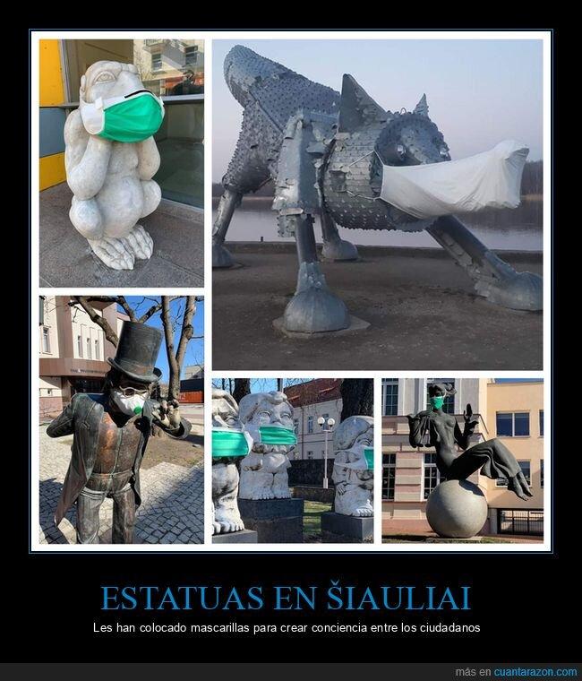 coronavirus,estatuas,mascarillas