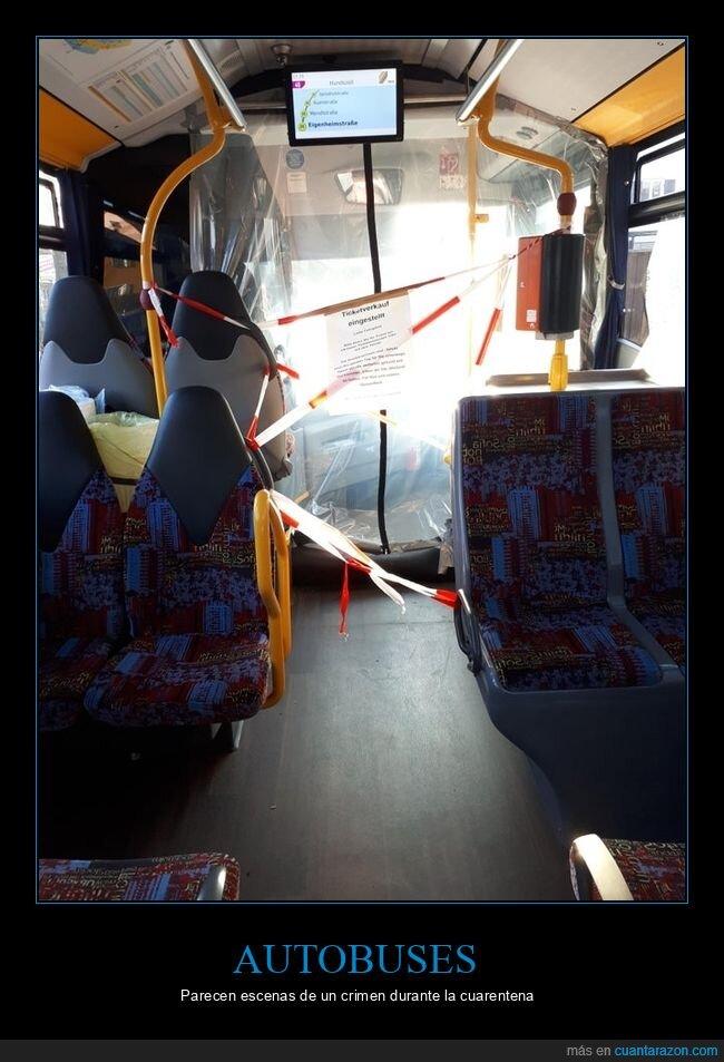 autobuses,coronavirus,cuarentena,escena de un crimen