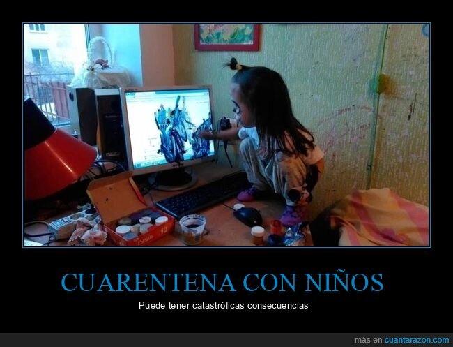 coronavirus,fails,niña,ordenador,pantalla,pintando