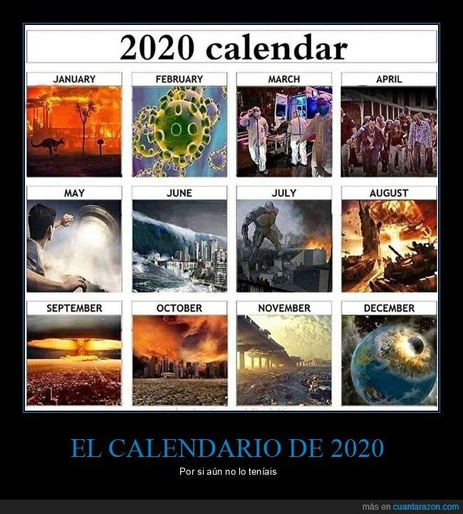 2020,calendario,coronavirus,desastres