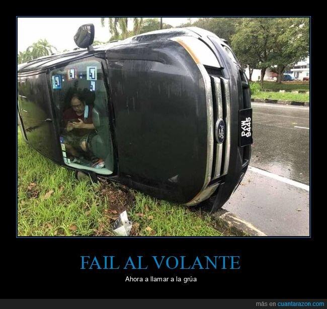 accidente,coche,llamando,volcado