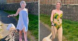 Enlace a Esta mujer lleva curiosos disfraces para pasear a su perro durante la cuarentena, y el pobre parece avergonzado