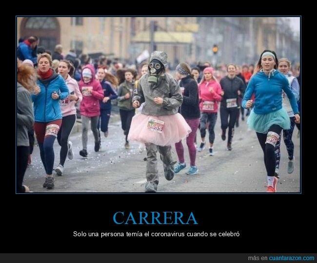 carrera,coronavirus,máscara de gas,mascarilla
