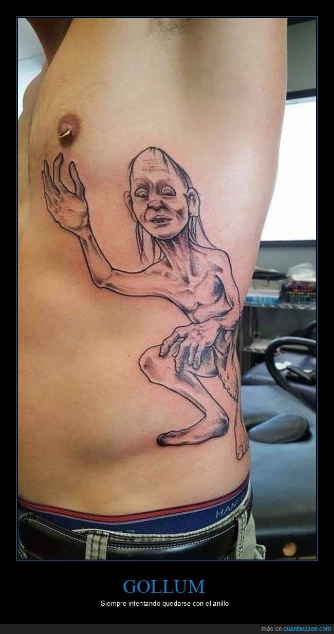 anillo,el señor de los anillos,gollum,piercing,tatuaje