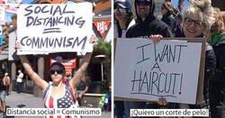 """Enlace a Personas no muy listas protestando contra la cuarentena con """"interesantes"""" carteles"""