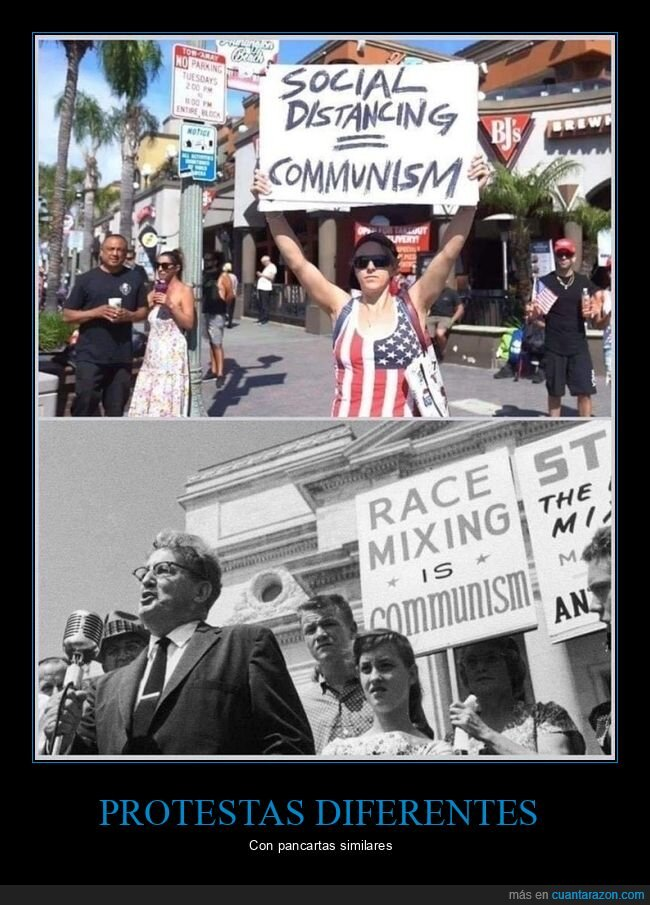 cartel,comunismo,coronavirus,cuarentena,distanciamiento social,manifestantes,parecidos,razas,retro