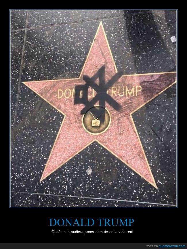 donald trump,estrella,mute,paseo de la fama,políticos