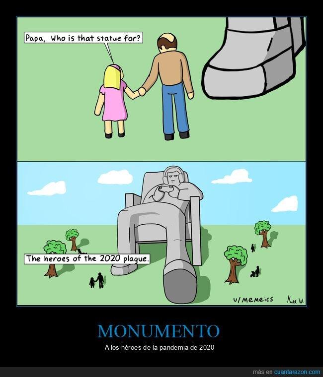 coronavirus,estatua,héroes,pandemia