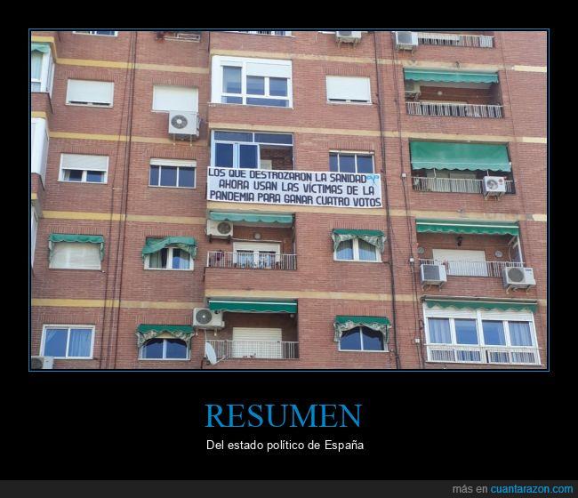 balcón,coronavirus,pancarta,pandemia,políticos,usar,víctimas,votos