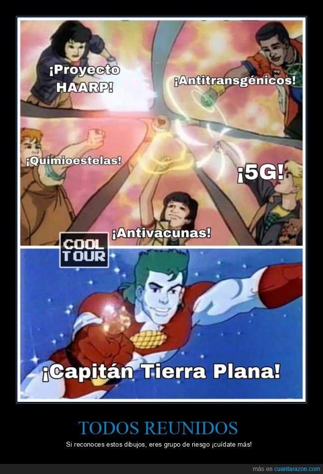 capitán planeta,capitán tierra plana,conspiracionistas