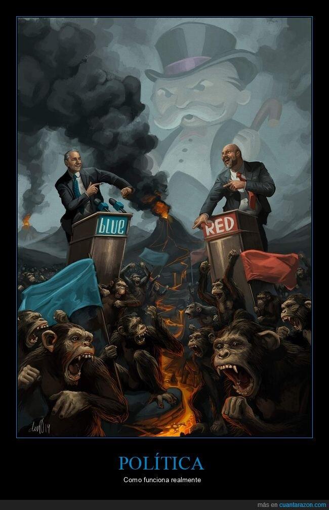 bandos,monos,peleando,políticos