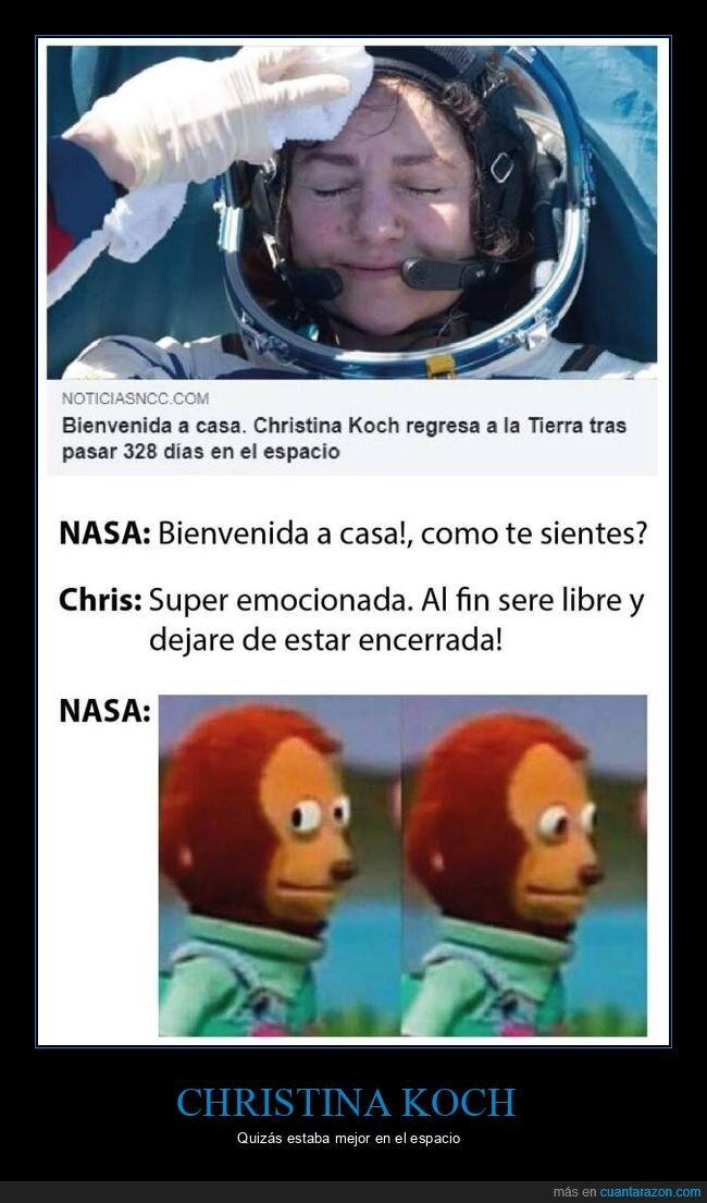 christina koch,coronavirus,encerrada,espacio,regreso
