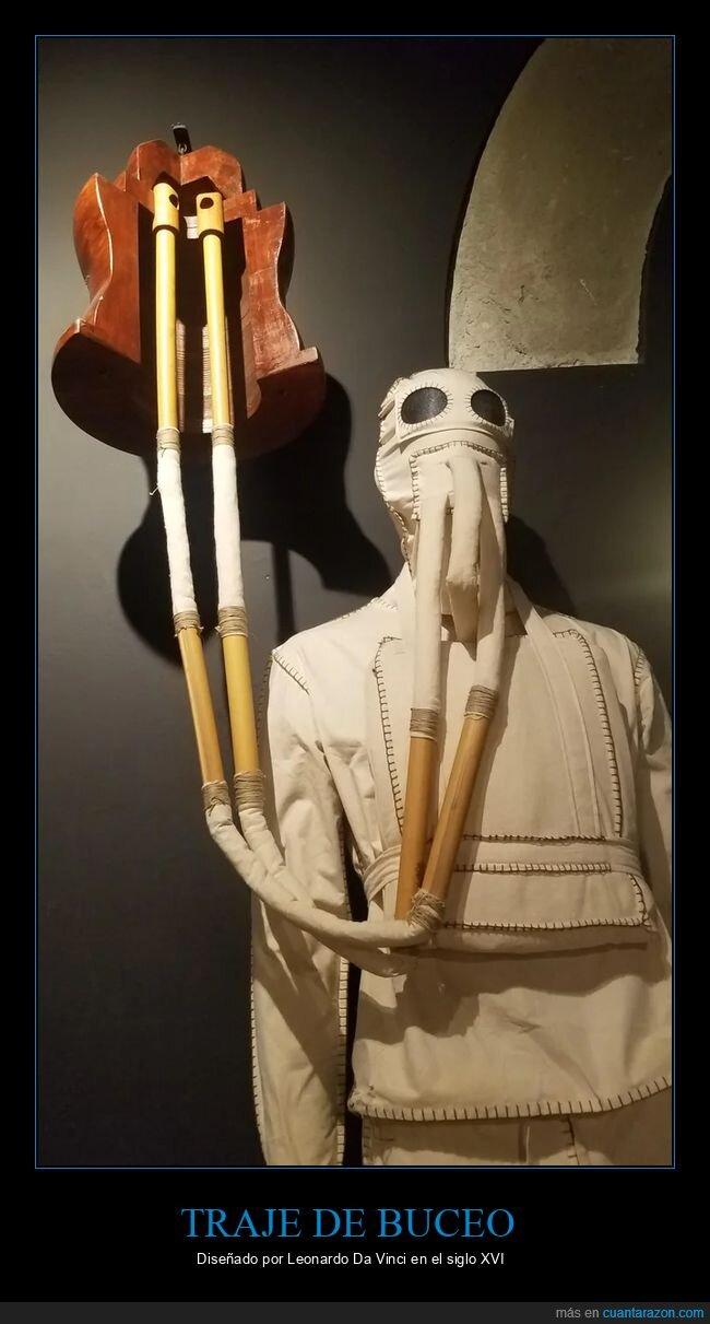 leonardo da vinci,siglo xvi,traje de buceo
