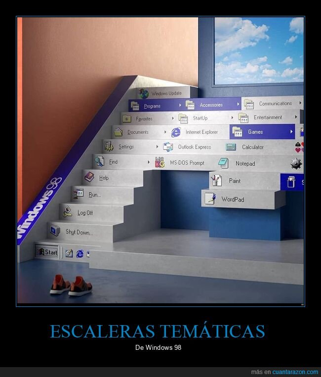 escaleras,temáticas,windows 98