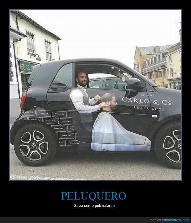 coche,peluquero,publicidad