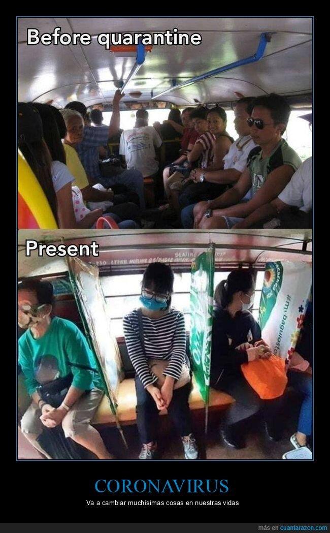 antes,autobús,coronavirus,después