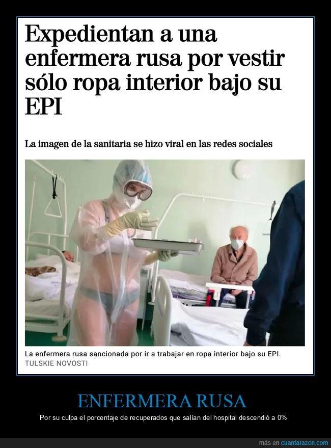 coronavirus,enfermera,epi,ropa interior,rusa,rusos,wtf