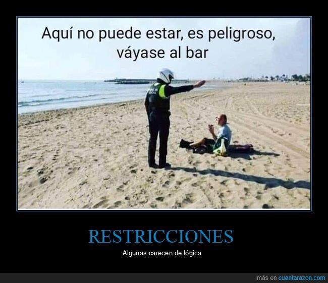 bar,cuarentena,peligroso,playa,policía