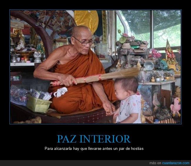 budista,monje,niño,pegando