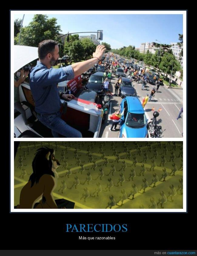 coches,el rey león,manifestación,parecidos,políticos,santiago abascal,vox
