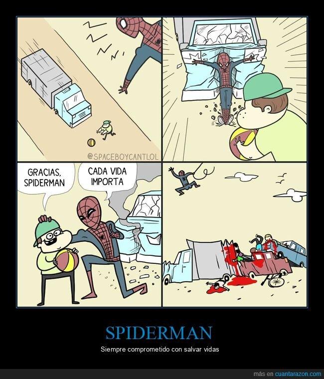 coches,niño,salvar,spiderman