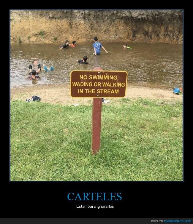 bañándose,cartel,prohibición