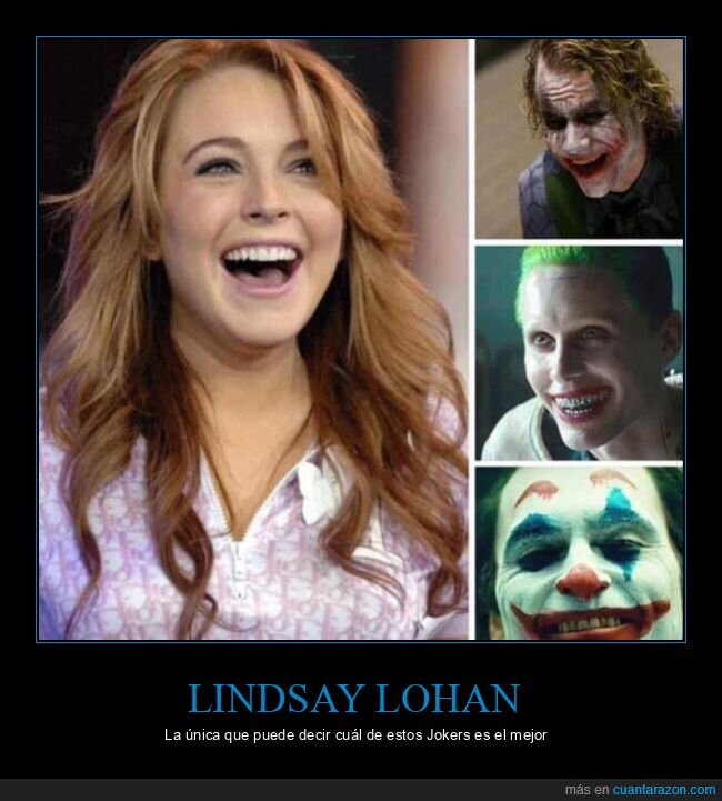 heath ledger,jared leto,joaquin phoenix,joker,lindsay lohan,mejor