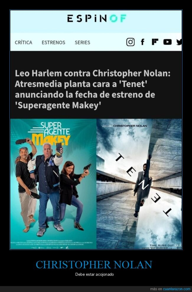 christopher nolan,leo harlem,noticias,superagente makey,tenet