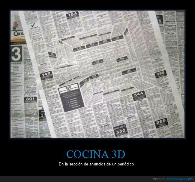 3d,anuncios,cocina,periódico