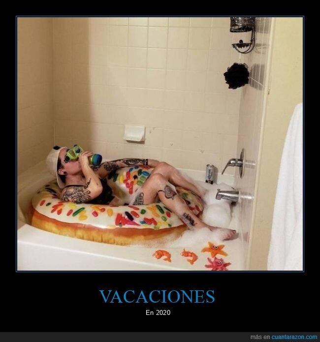 bañera,coronavirus,cuarentena,flotador,vacaciones