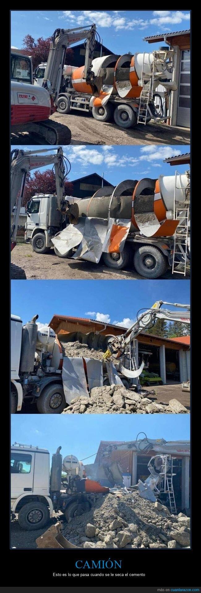 camión,cemento,fails,seco