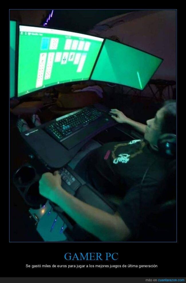 gamer pc,jugando,ordenador,solitario,videojuegos