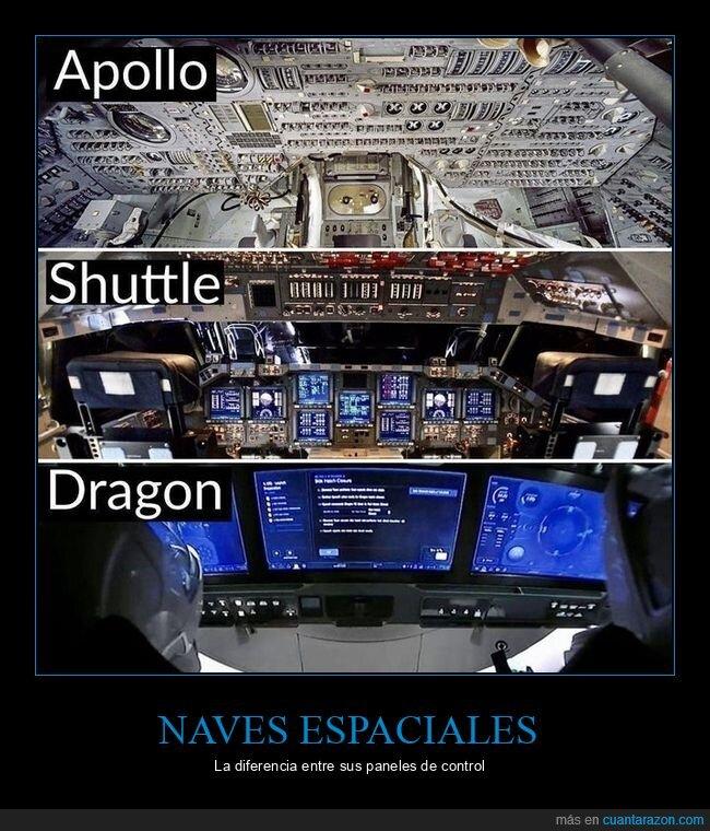 diferencias,naves espaciales,paneles de control