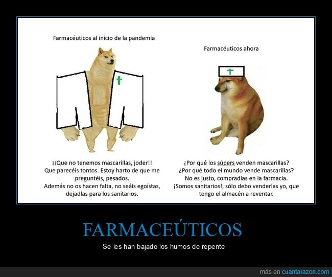 doge y cheems,farmaceuticos,farmacia,mascarillas