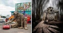 Enlace a Artista hace increíbles creaciones con cortezas de árboles