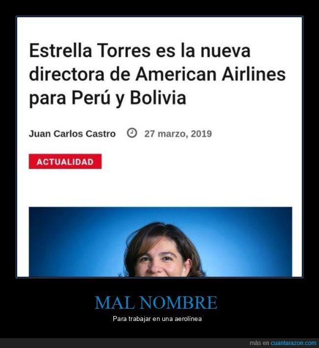 aerolínea,american airlines,estrella torres,nombre,wtf