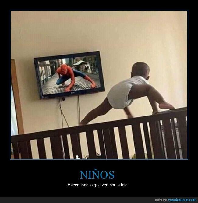 bebé,niño,postura,spiderman,wtf