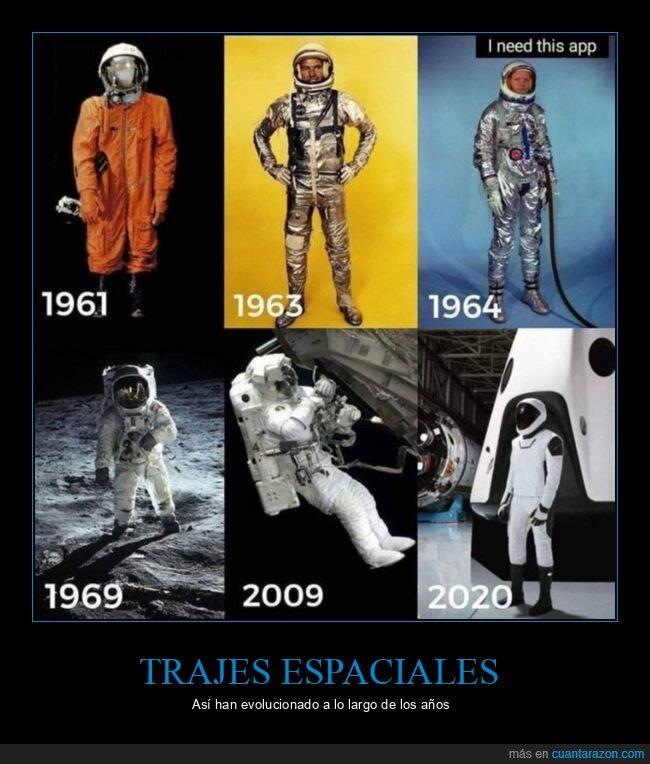 astronautas,evolución,trajes espaciales