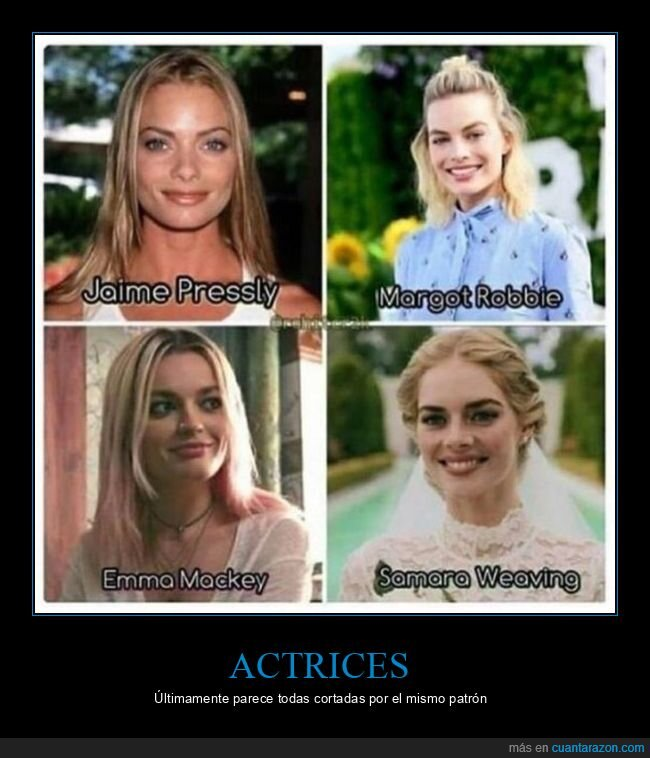 actrices,emma mackey,jaime pressly,margot robbie,parecidos,samara weaving